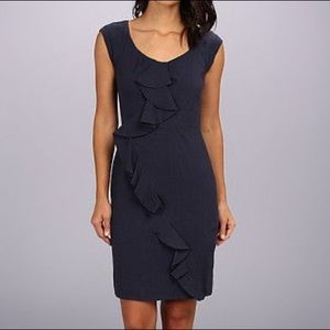 Rebecca Taylor Femme Work Dress Navy Blue Linen